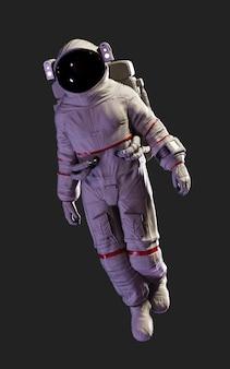 Posa dell'astronauta dell'illustrazione 3d contro isolata su fondo nero con il percorso di ritaglio.