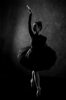 Posa della ballerina in scala di grigi di vista frontale
