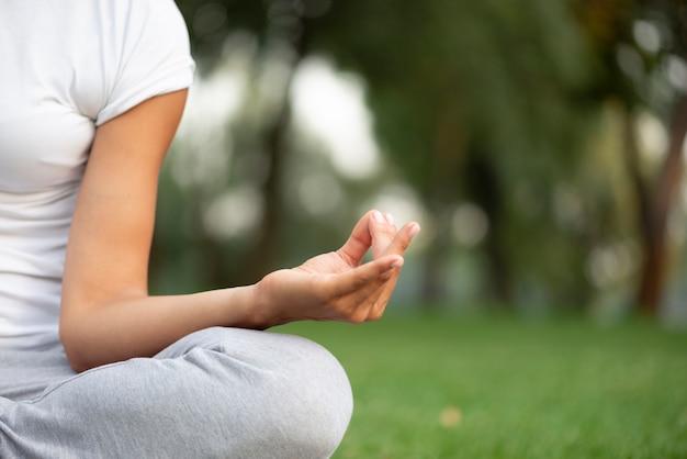 Posa meditating della mano del primo piano