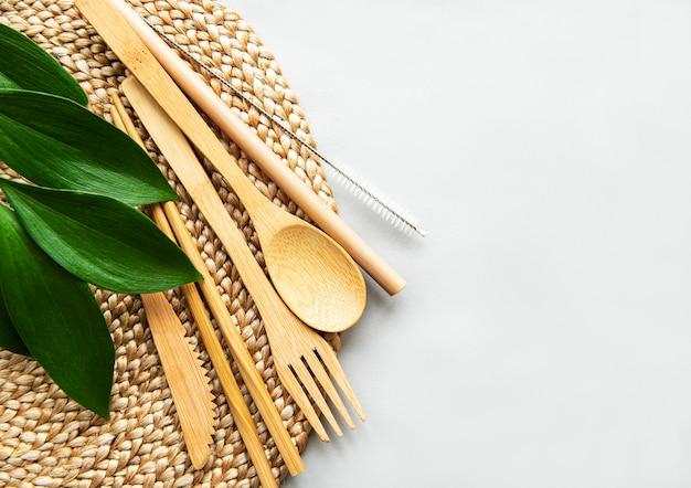 Posate di bambù amichevoli eco impostare lo sfondo