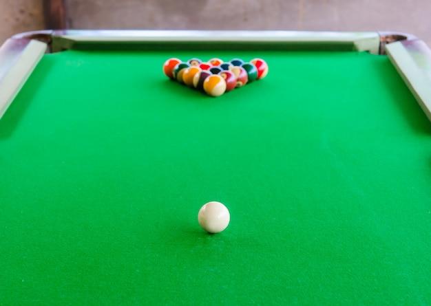 Posizionamento delle palle da biliardo sul tavolo