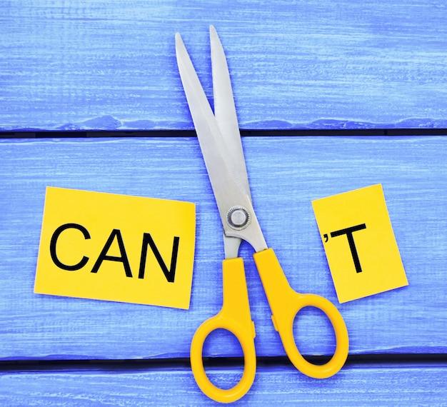 Posso auto-motivare - tagliando la lettera t della parola scritta che non posso, così dice