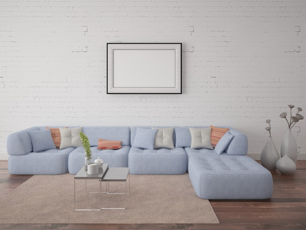 Poster con un grande divano comodo in background su un hipster