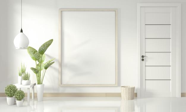 Poster interno mock up con cornice in legno in piedi sul pavimento in legno e piante di decorazione