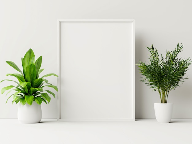 Poster interno mock up con vaso, fiore in camera con parete bianca.