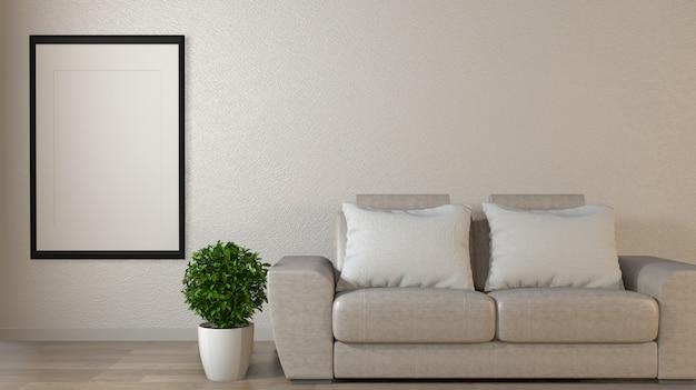 Poster mock up soggiorno con divano colorato bianco. rendering 3d