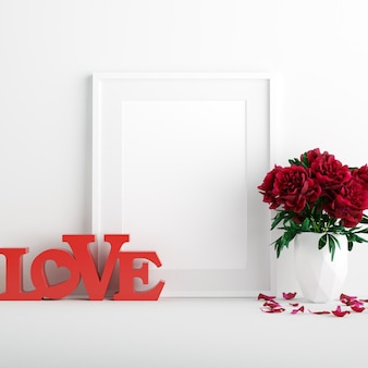 Poster mockup con fiori di rosa rossa in bianco vaso e red love segno di san valentino
