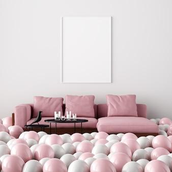 Poster mockup interior living room decorazione di san valentino