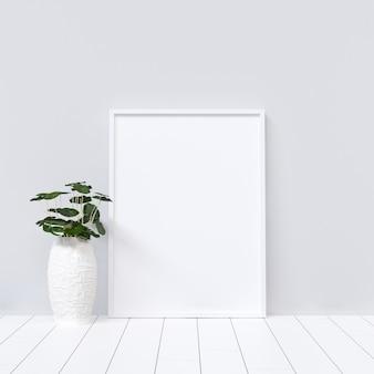 Poster mockup su interno bianco con decorazione vegetale