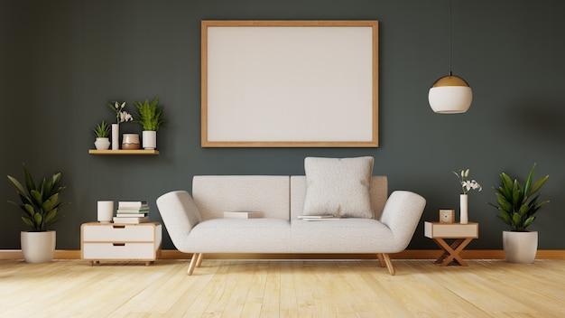 Poster sopra il divano bianco con piante accanto al divano grigio nel semplice salotto interno. rendering 3d
