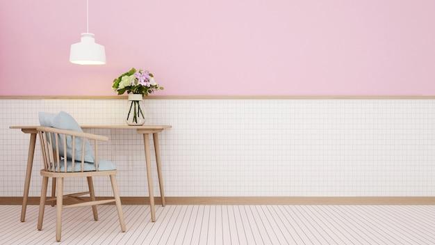 Posto di lavoro a casa o in hotel su una parete in ceramica bianca e una parete rosa d