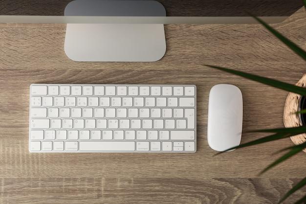 Posto di lavoro con il computer e la pianta sulla tavola di legno, vista superiore