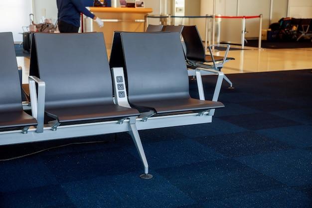 Posto vuoto nell'aeroporto nella sala partenze all'aeroporto
