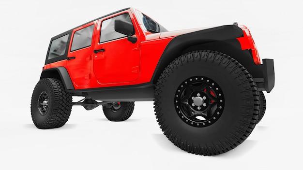 Potente suv rosso accordato per spedizioni in montagna, paludi, deserto e qualsiasi terreno accidentato. grandi ruote, sospensione di sollevamento per ostacoli ripidi. rendering 3d.