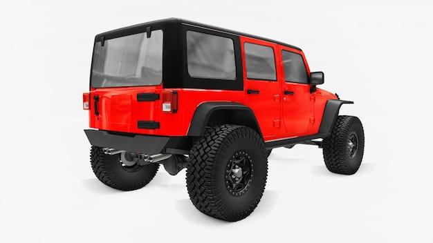 Potente suv rosso accordato per spedizioni in montagna, paludi, deserto e qualsiasi terreno accidentato. grandi ruote, sospensione di sollevamento per ostacoli ripidi