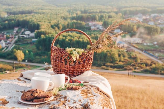 Pranzo al sacco con sfondo di paesaggio