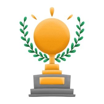 Premio d'oro o trofeo con ghirlanda di foglie verdi. isolato su sfondo bianco