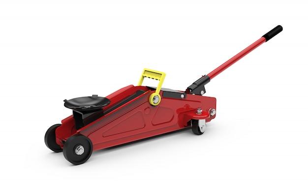 Presa rossa chiusa del pavimento idraulico isolata su bianco