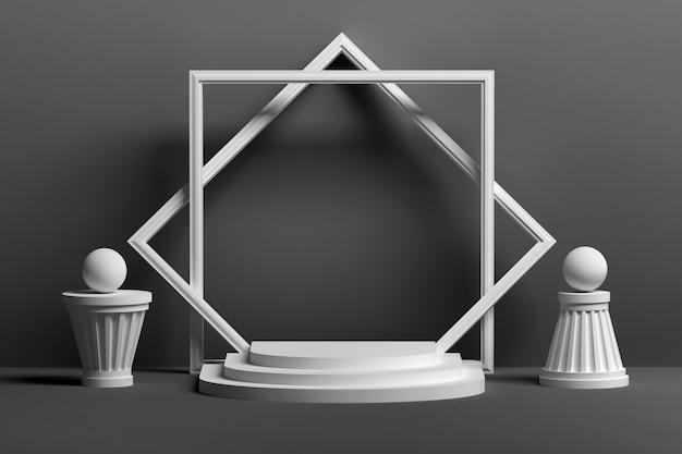 Presentazione bianca monocromatica del podio nero con cornice vuota vuota e forme astratte
