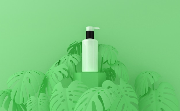 Presentazione del prodotto cosmetico con foglie tropicali. confezione vuota. rendering 3d