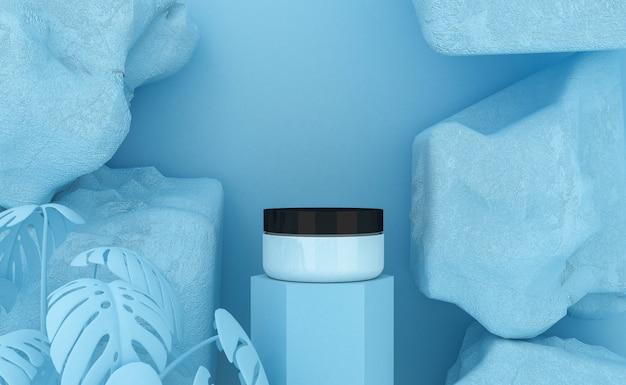 Presentazione del prodotto cosmetico. confezione vuota. rendering 3d