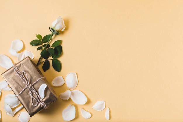 Presente con petali di rosa e copia spazio