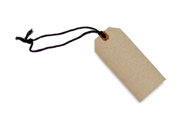 Prezzo da pagare o etichetta marrone in bianco del cartone isolato
