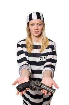 Prigioniero isolato sul bianco