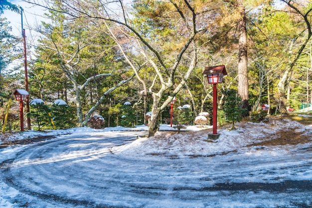 Prima neve sulla strada di montagna