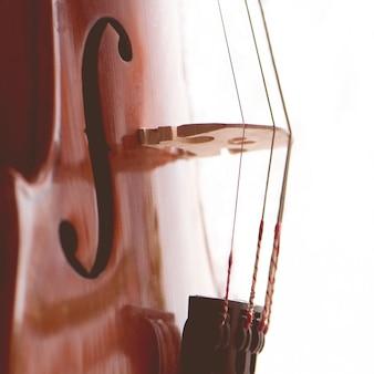 Primo piano allungato delle corde del violino. concept music