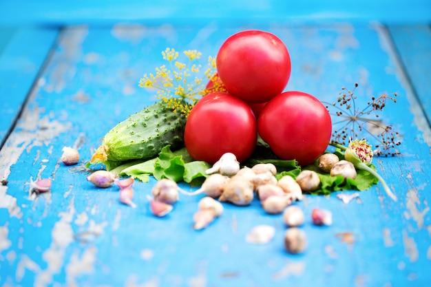 Primo piano dei cetrioli e dei pomodori