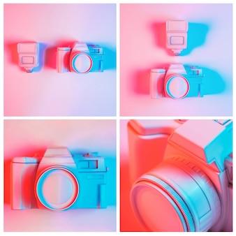 Primo piano del collage dipinto della macchina fotografica contro fondo rosa