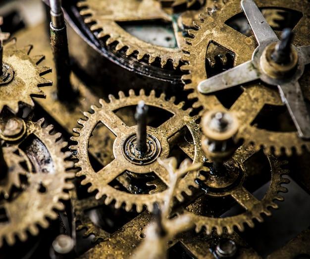 Primo piano del colpo di macro del movimento a orologeria dei denti e degli ingranaggi