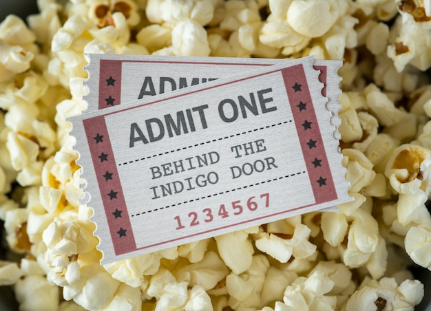 Primo piano del concetto di intrattenimento cinematografico e cinematografico