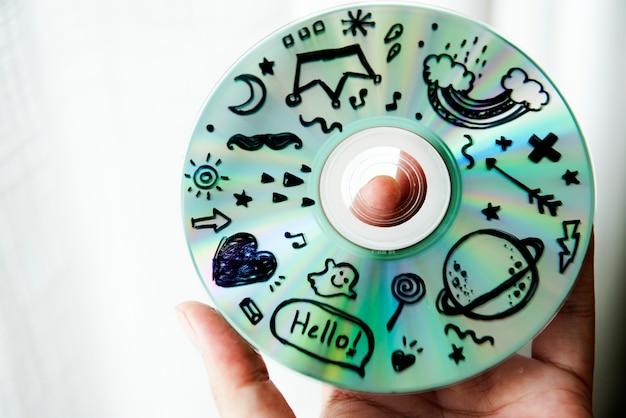 Primo piano del disco cd musicale