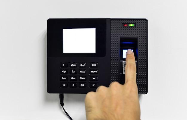 Primo piano del lettore di impronte digitali