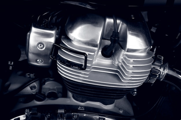 Primo piano del motore del motociclo cilindro del motore del motociclo, primo piano del motore a combustione interna