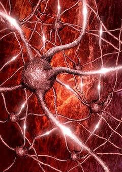 Primo piano del neurone con sfondo di rete neurale in attività elettrica