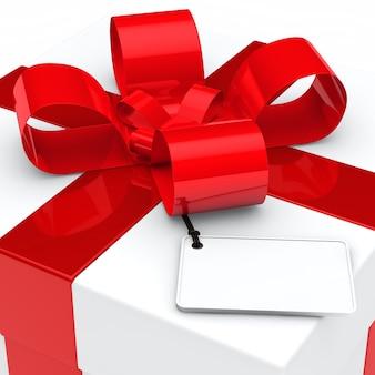 Primo piano del regalo con il contrassegno in bianco