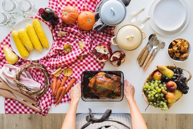 Primo piano delizioso del cibo di ringraziamento