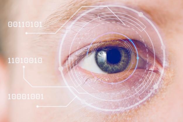 Primo piano dell'occhio con sovrapposizione blu