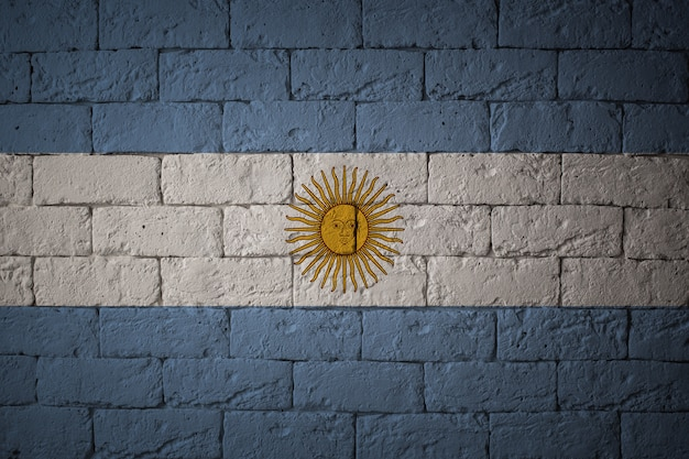 Primo piano della bandiera del grunge dell'argentina. bandiera con proporzioni originali