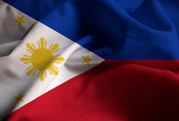 Primo piano della bandiera increspata di filippine, bandiera delle filippine che soffia in vento