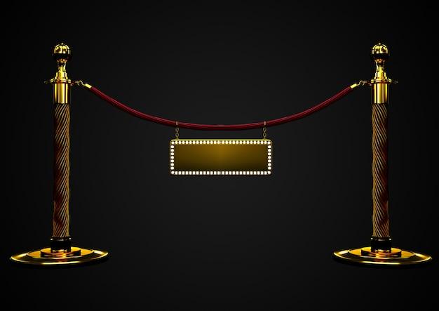 Primo piano della barriera della corda del velluto rosso con una bandiera dorata nel mezzo. vip