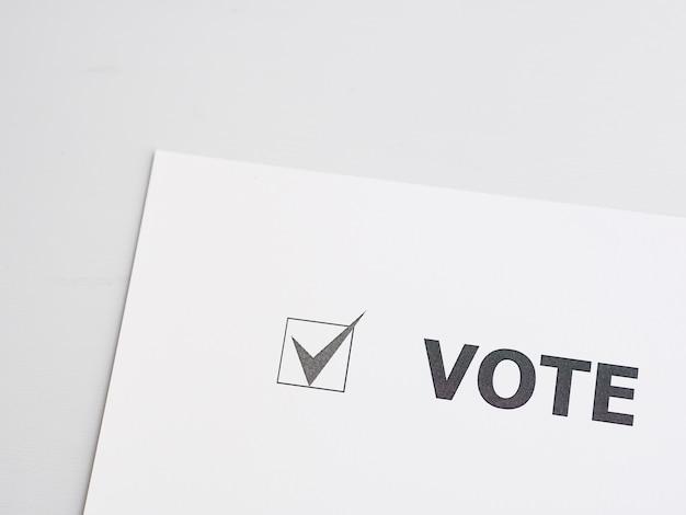 Primo piano della casella selezionata per voto
