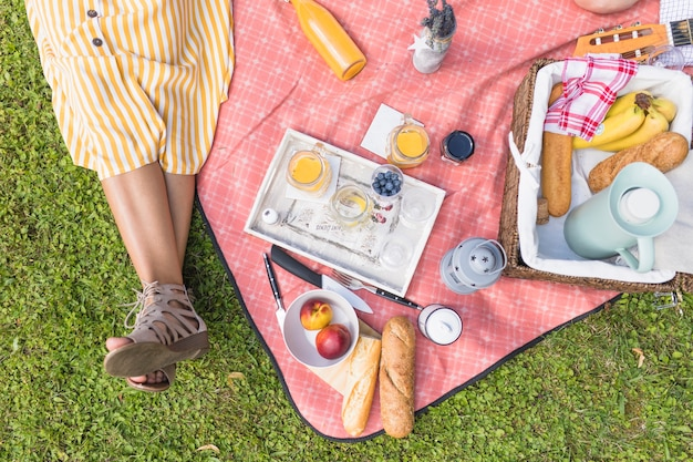 Primo piano della donna che si siede vicino al cestino di picnic sulla coperta