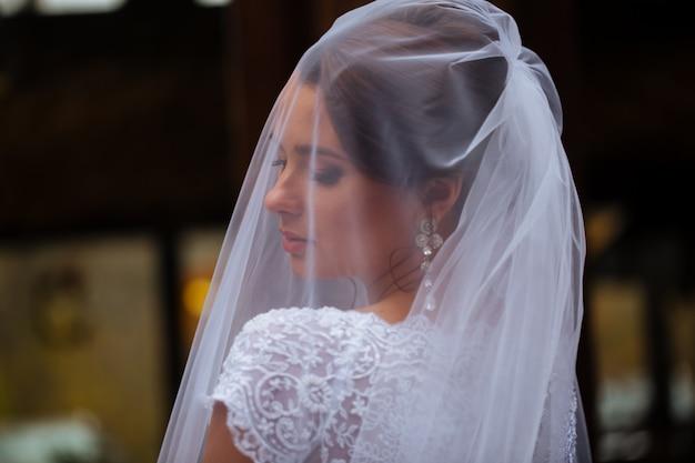 Primo piano della foto di bella giovane sposa in velo lungo del vestito ornamentale dal pizzo di nozze
