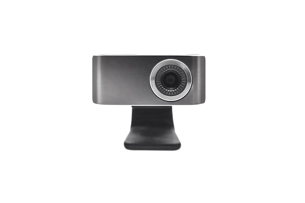 Primo piano della fotocamera web isolato su uno sfondo bianco