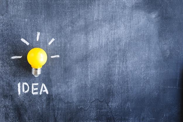 Primo piano della lampadina della luce gialla con testo di idea sulla lavagna