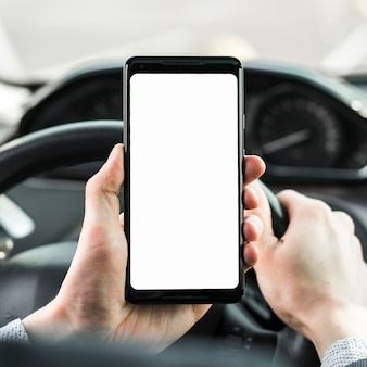 Primo piano della mano dell'uomo che guida l'automobile che mostra il telefono cellulare in bianco dello schermo bianco